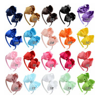 Wholesale Solid Hairbands - 4 inch Infants Hair Hoop Ribbon Bow Hair Sticks for Girls 2017 Fashion Kids Baby Double Bows Headwear Hairs Accessories