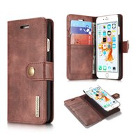 Wholesale Magnetic Hard - For iphone X 7 8 plus 2in1 Leather Wallet Cases Magnetic Removable Detachable Hard Case Cover Card Holder For Galaxy S9 S8 edge