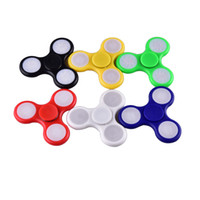 Wholesale Wholesale Tip Up Lights - LED Light Up Hand Spinners Fidget Spinner Top Quality Triangle Finger Spinning Colorful Decompression Fingers Tip Tops Toys OTH384