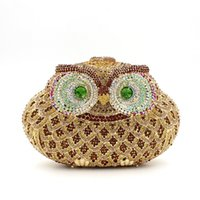 Wholesale Owl Cell Phone Bag - hot sale Fashion designer Handmade Clutch purse luxury super glittering colorful rhinestone diamond crystal cute owl animal Evening Bag