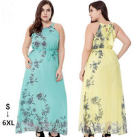 Wholesale 5xl Womens Sexy Dress - Summer Beach Bohemia Chiffon Long Dress Floral Printing Dress Casual Dresses 3 Colors Plus Size 6XL For Womens Party Dress Free Shipping