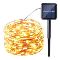 Wholesale Nets Garden - 10m 100 LED Solar Lamps Copper Wire Fairy String Patio Lights 33ft Waterproof Outdoor Garden Christmas Wedding Party Decoration