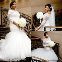 Discount vestidos wedding dress lace - 3 4 Long Sleeves Mermaid Wedding Dresses 2017 Bateau Lace Appliques Arabic Trumpet Arabic African Bridal Gowns Vestidos De Noiva Plus Size