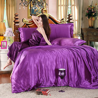 Wholesale Pure Silk Duvet Cover - Wholesale- 2016New Style pure satin silk bedding set King size bed set,bedclothes,duvet cover flat sheet pillowcases Wholesale