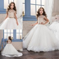 Wholesale birthday dresses for babies - 2017 New Lace Princess Baby Girl Flower Girls Dresses for Weddings Sheer Little Cap Sleeves Backless Formal Girl's Communion Pageant Dresses