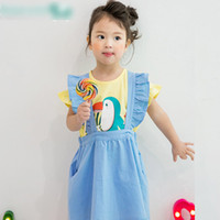 Wholesale Top Fashion Outfits For Kids - Fashion Korean Princess Girls Outfits Sets Woodpecker Bird Tee Tops+suspender Dress 2pcs Set For Kids Girl Casual Child Clothes Sets A6859