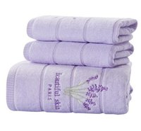 Wholesale Antibacterial Face Towel - 3-Pieces Embroidery Lavender Cotton Towel Set Face Towels Bath Towel For Adults Washcloths High Absorbent Antibacterial
