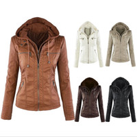 Wholesale Color Leather Jackets Women - Newest Women's Winter Leather Jacket Coat Hoodies Hooded Lapel Zipper Detachable Leather Jacket Female jaqueta de cour