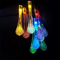 bandes d'éclairage led extérieures couleur achat en gros de-Multi couleur solaire chaîne ficelle 2m 20 LED lumières bande lumière extérieure de la goutte d'eau pour le mariage fête de noël décoration