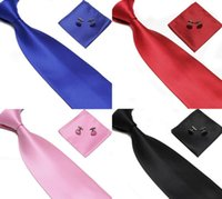 Wholesale Steel Neck Cuff - free shipping Men's Tie Cuff Links Handkerchief Set 100% SILK New Christmas Gift