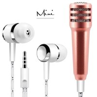 Wholesale Mic Live - Karaoke System Noise Cancelling Recording Mini microphones mic With Earbuds For Mobile phone Tablets Laptop For Podcast Live Streaming KTV