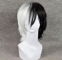 Wholesale Dangan Ronpa Cosplay Wig - Short Black Mixed White Dangan Ronpa Monokuma Perucas Cosplay Wig peruca Cosplay Wigs