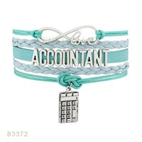 (10 Unids / lote) Infinty Love Accountant Calculator Charm Bracelet Leather Wrap Mint Blue Light Blue Pulsera Envío de la gota