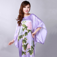 Wholesale Silk Peony Ivory - Wholesale- Sexy Purpl Female Silk Rayon Robe Bath Gown Nightgown Summer Casual Home Dress Printed Peacock Sleepwear Plus Size 6XL peony New