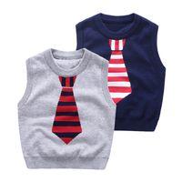 marca de suéter para niños al por mayor-2017 marca de calidad niños jacquard empate chaleco de punto ropa de Bebé niños suéteres niños Otoño invierno Tornillo o-cuello de algodón prendas de punto L001