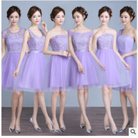 Wholesale Cap Gowns For Wholesale - Purple Convertible Bridesmaid Dresses Sexy Mixed Styles Lace Chiffon Dresses For Maid of Honor Custom Made Evening Gowns Long Prom Dress
