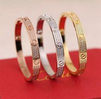 Wholesale Set 316 - 316 Titanium steel men &women Love screw bracelets with full CZ diamond silver rose gold bangle with screwdriver Bracelet for lovers Jewelry