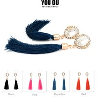 Wholesale Assorted Black Rhinestones - 2017 New Fashion Long Tassels Stud Earrings for Women Black Party Crystal Earrings Women Jewelry Accessories Assorted Color DR-1052