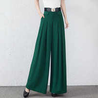 Wholesale Wide Legged Pants For Women - Wide leg pants for women elastic waist plus size black green high waist spring autumn new fashion full length loose trousers female yys0702