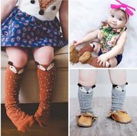 rodillera alta al por mayor-Unisex de dibujos animados Animal pierna calentadores 2017 Moda bebé niñas niños hasta la rodilla Totoro Panda Fox calcetines niños lindos Rodilla Rodilla calcetín calcetín