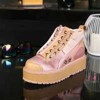 Wholesale Chunky Wedge Platforms White - 2017 winter fall Womens Ladies Army Green pink white Fabric Satin with real Leather chunky Platform Wedges sewing sneakers zip up boots