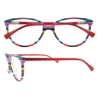 Wholesale Blue Rainbow Design - BLue Red Brown Strips Rainbow Series Oval Full-rim Unisex Italian Fashion Design Acetate Prescription Optical Spectacles