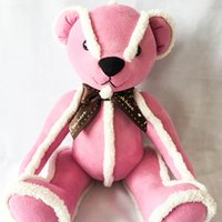 Wholesale Wedding Soft Teddy Bears - 26cm Soft Suede Bears Plush Toys Stuffed Animals Bear Dolls with Bowknot for Children Birthday Gifts Wedding Party Decor