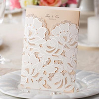 Wholesale Customizable Wedding Invitation Set - Wholesale-Customizable Pocket Wedding Invitations Cards with Lace Laser Cut CW100 CW066 in White and Red (Set of 50) Free Shipping
