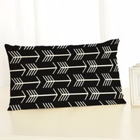 Wholesale Green Black Throw Cushions - geometric cushion cover polyester linen throw pillpw case backrest home decor arrow almofada rectangle black gray red green