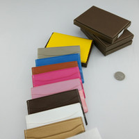Wholesale Leather Lock Stripes - wholesale Classic Design Casual Credit leather card set card package french tide Card ID Holder Ultra Slim Wallet Packet gy Bag with box