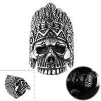 Wholesale Mysterious Rings - Punk Indian Skull Men Motor Finger Rings Mysterious Chief Skull Head Titanium Steel Rings Silver Plated Top Quality Stainless Steel Men Gift