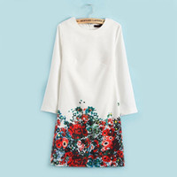ingrosso abbigliamento in stile bohemien all'ingrosso-Le donne all'ingrosso di stile di trasporto libero all'ingrosso si vestono nuovo bianco con i vestiti chiffoni della stampa del fiore per signora, abbigliamento della Boemia casuale