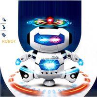 robots espaciales al por mayor-Juguete robot humanoide de baile espacial inteligente con luz Niños mascotas Brinquedos Electrónica Jouets Electronique para niño Kid