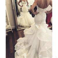 Wholesale wedding pnina tornai - Vintage 2017 Mermaid Lace Wedding Dresses Peearls Sequins Beaded Plus Size Arabic African Pnina Tornai Bridal Gown