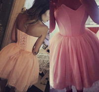 Wholesale cheap purple corset mini dresses - Modest Pink Ball Gown Short Homecoming Dresses 2017 Strapless Appliques Corset Back Knee Length Party Prom Gowns Cheap Custom Made