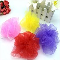 Wholesale Wash Cleaner Ball - New Mesh Colorful Nylon Bath Flower Bathing Spa Shower Scrubber Wash Bath Ball Colorful Bath Brushes Sponges 8g CCA6750 1000pcs