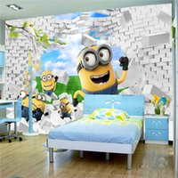 Wholesale Minions House - Cute Yellow Minions Brick Wallpaper 3d Wall Mural Rolls for Hotel Bar Kids Playgroup Kindergarten Baby-room Bedroom Living Room