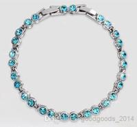 Wholesale Austrian Crystal Bracelet Swarovski - Austrian crystal full diamond bracelet Sterling Silver Swarovski Crystal Elements jewelry Optional multicolor a510