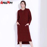 Wholesale Long Green Sweater Dress - Women Knitted Sweater Dress With Pocket Vestido Manga Longa O Neck Long Sleeve Pullovers Thick Sweater Knitwear Clothing GAREMAY