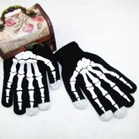 Wholesale Winter Skeleton Gloves - New Style Winter Full Finger Unisex Ghost Bone Screen Knit Skeleton Ski Gloves
