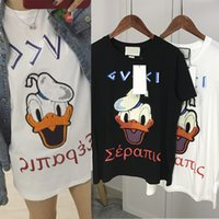 Wholesale Men S Towel - 2017 Fashion Donald Duck Floss Embroidery Towel Printed Letters Casual T-Shirt Summer Trendy Mens Short Sleeve Tee Tops Brand Clothing