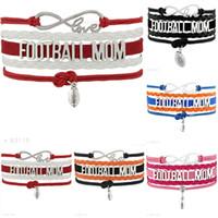 Wholesale Wholesale Sports Mom - Infinity Love Football Mom Charm Sports Bracelets For Women Men Blue Red Black Wrap Bracelet Jewelry