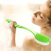 Wholesale Back Exfoliating - Wholesale-Bath Brush Long Handle Exfoliating Back Brush Body Scrubber Shower Bath Brushes Rubbing Scrubber Spa Massager Bathroom Products