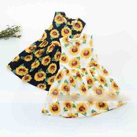 Wholesale Sunflower Flower Girls Dresses - Sunflower Summer Girls Dress helianthus Printed Princess Children Dresses Sleeveless Flower Dress Holiday Girls Floral Party Dress A6272