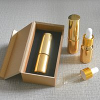Wholesale Gold Essential Oil Bottle - Wholesale- 4pcs 10ml High temperature gold plated dropper bottle With wooden box,empty glass essential oil bottle, perfume subpackage jar
