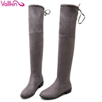 Wholesale Stretch Bows - Wholesale-VALLKIN Square Low Heel Woman Stretch Fabric Over The Knee Boots Women Shoes Bow Tie Ladies Motorcycle Boots Size 34-43