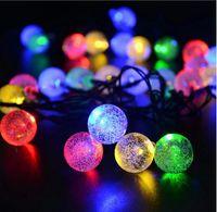 nuevas luces decorativas festival al por mayor-New 20 LED Light Solar Garden Decorativo Powered Fairy Bubble Ball String Light Exterior para Festival de Navidad Lámpara