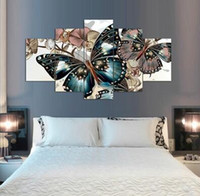 Wholesale Butterfly Picture Framing - Framed Printed Abstract floral butterfly Painting on canvas room decoration print poster picture canvas