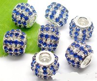 50pcs Lot Fashion Hollow Silver plated Royal Blue Rhinestone Beads for Jewelry Making DIY Beads for Bracelet Wholesale in Bulk Low Price