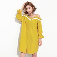 collier de dentelle jaune achat en gros de-Summer Spring New Fashion White Yellow Slash Collar Full Sleeve Stitching Lace Loose Grande taille Robe Femme F61600